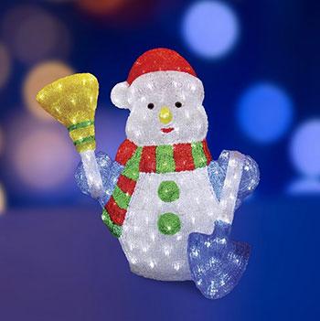 Акриловый Снеговик и Санта Клаус